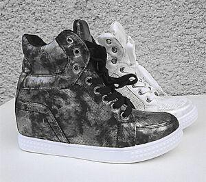 Basket compensées montante femme chaussure cuir simili lacet Sport Sneake ON001
