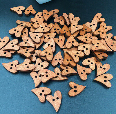 Free 50PCs Wood Sewing Buttons Heart Love 2 Holes 2 colors Scrapbook 21mm x 17mm