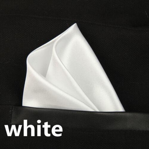 White Pocket Square Hanky Handkerchief Formal Wedding Free P/&P