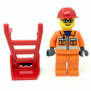 Trolley Mini figure City Delivery Man Construction LEGO Workman Kids Toys