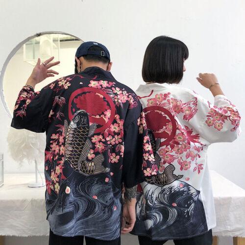 Le donne uomini cappotto Kimono Giapponese Harajuku VINTAGE LOOSE Yukata Outwear Casual Tops