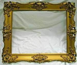 ANTIQUE-Fits-16X20-FRENCH-ROCOCO-Baroque-Gold-Picture-Frame-Wood-Ornate-Fine-Art
