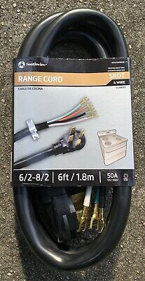 Coleman Cable 09046 50-Amp 4-Wire Range Power Cord 6-Foot 90468808