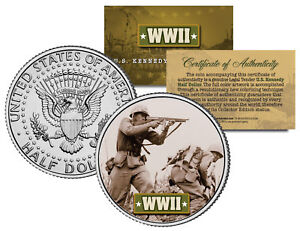 World-War-II-AMERICAN-SOLDIER-BATTLEFIELD-JFK-Kennedy-Half-Dollar-U-S-Coin