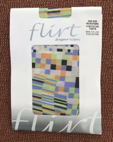 Flirt Pastel Multicoloured Designer 40 Denier Footless Tights One Size BNWT