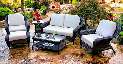 Awesome 6 Piece Outdoor Patio Furniture Set Dark Resin Wicker Loveseat With Chairs Table Ebay Cjindustries Chair Design For Home Cjindustriesco