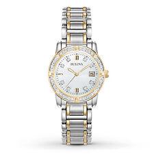 Bulova Women's Quartz Diamond Accents Gold Tone Calendar 26mm Watch 98R107