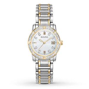 Bulova-Women-039-s-Quartz-Diamond-Accents-Gold-Tone-Calendar-26mm-Watch-98R107