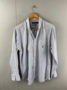 Nautica Men's Long Sleeve Button Up Shirt Size L Blue Check
