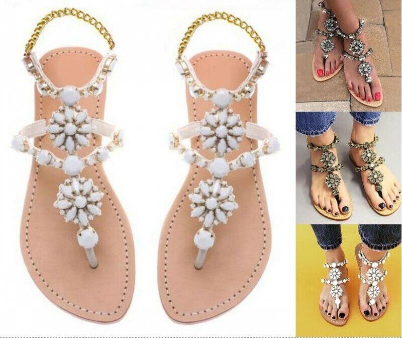 Womens Glitter Rhinestones Thongs Sandals Strappy Flat Flip Flop shoes SZ 35-43