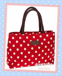 Super-Chic-Red-amp-Cream-Polka-Dot-Waterproof-Tote-Handbag-Two-Compartments
