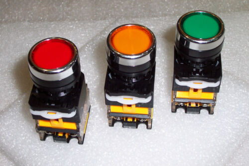 3 PCS 22MM RED YELLOW GREEN ON//OFF LATCHING SWITCHES NO /& NC CONTACTS