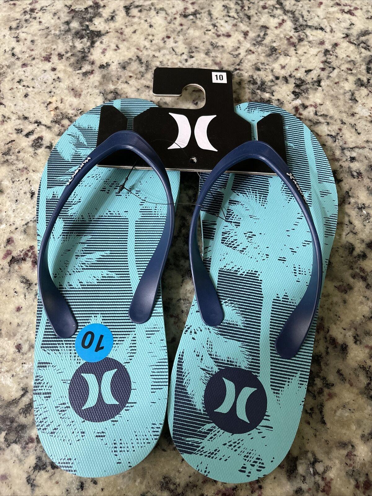 Hurley NEW Sz. 10 Blue Tropical Men's Beach Flip Flop Sandals