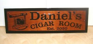 Personalized Cigar Bar Sign Smoking Room Custom Carved Wood Rustic Plaque