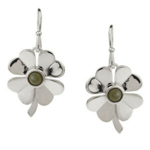 Connemara-Marble-Sterling-Silver-4-Leaf-Clover-Earrings-QVC-Sold-Out