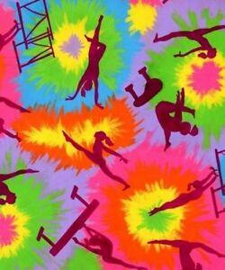 Girls gymnastics children tie dye fleece fabric print by for Fleece fabric childrens prints