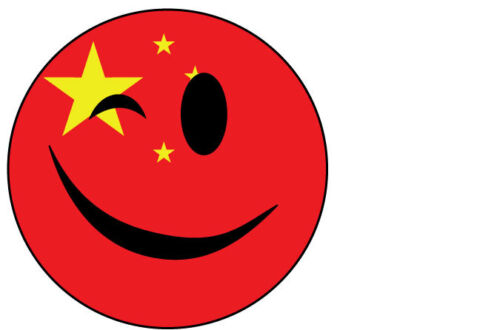 10 cm x 10 cm WINKING SMILEY FACE WITH CHINA CHINESE FLAG VINYL STICKER