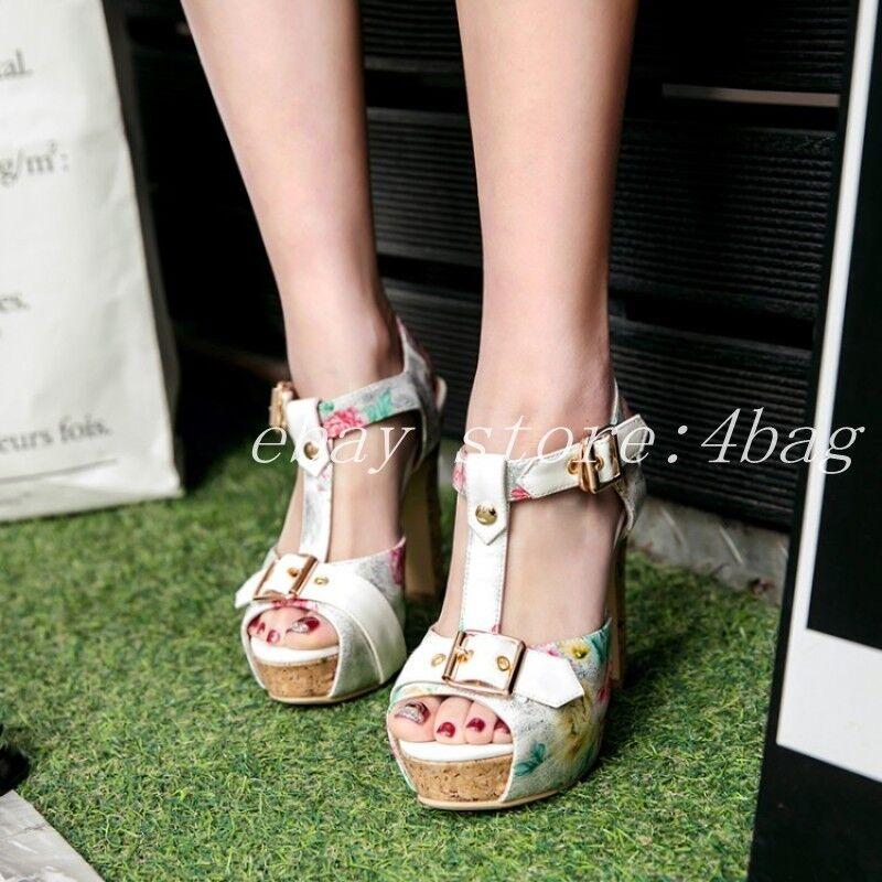 Peep Toe Floral Printed Roman Sandals femmes Block Heels chaussures chaussures chaussures T Strap Clubwear 53f727