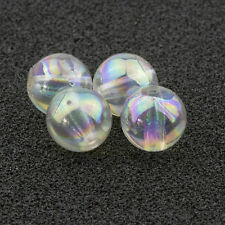 8mm Crystal Iris Acrylic Round Faux Pearl Bead Vintage Japanese 25pcs 10308001