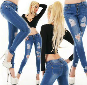 Jeans Ladies Skinny Jeans Trousers Used Look Destroyed