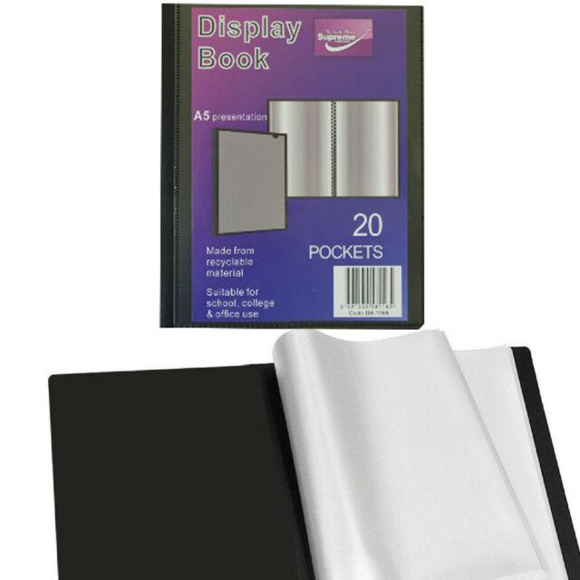 A5 Black Cover Display Book Presentation Folder Portfolio 20 Pocket