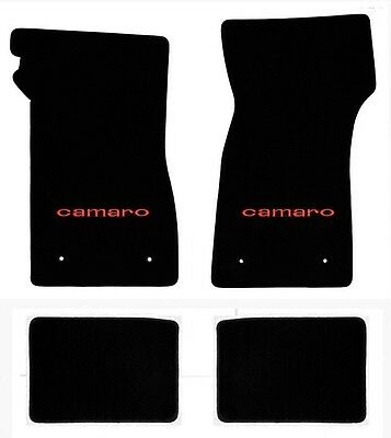 NEW 1967-1969 Camaro Floor Mats Black Set of 4 Carpet Embroidered Script Silver
