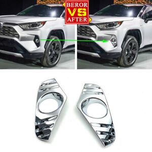 Front Fog Light Lamp Cover Trim For Toyota RAV 4 Limited LE XLE Hybrid 2019 2020