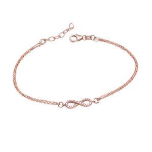 Das Bild wird geladen MATERIA-Damen-Zirkonia-Armband-Unendlich-Armkette -Rosegold-925- 0c7c88261c