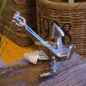 Anker-Maritim-silber-Poliert-Deko-Figur-Statue-Skulptur-Hamptons-Style-Maison