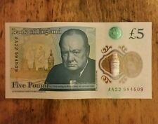 £ 5 Nota Raro AA22 cinco libras Nota