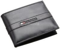 Men Tommy Hilfiger Ranger Black Leather Passcase Credit Card Billfold Wallet