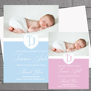new baby girls boys thank you cards birth announcement personalised