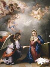 PAINTING MARY ANUNCIACION CHERUB ANGEL RELGION CHRISTIAN LV2657