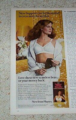 1978 Playtex Vintage Magazine Ad Cute Girl in Bra and Panties Paris Eiffel Tower