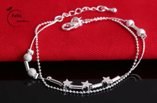 Luna Y Estrella Colgante Collar de Cadena Joyería De Plata Esterlina 925 Mujeres Regalo De Amor