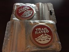 2 PACK Jeep Trail Rated 4X4 Emblem Badge Custom Logo Pair Red Liberty Wrangler
