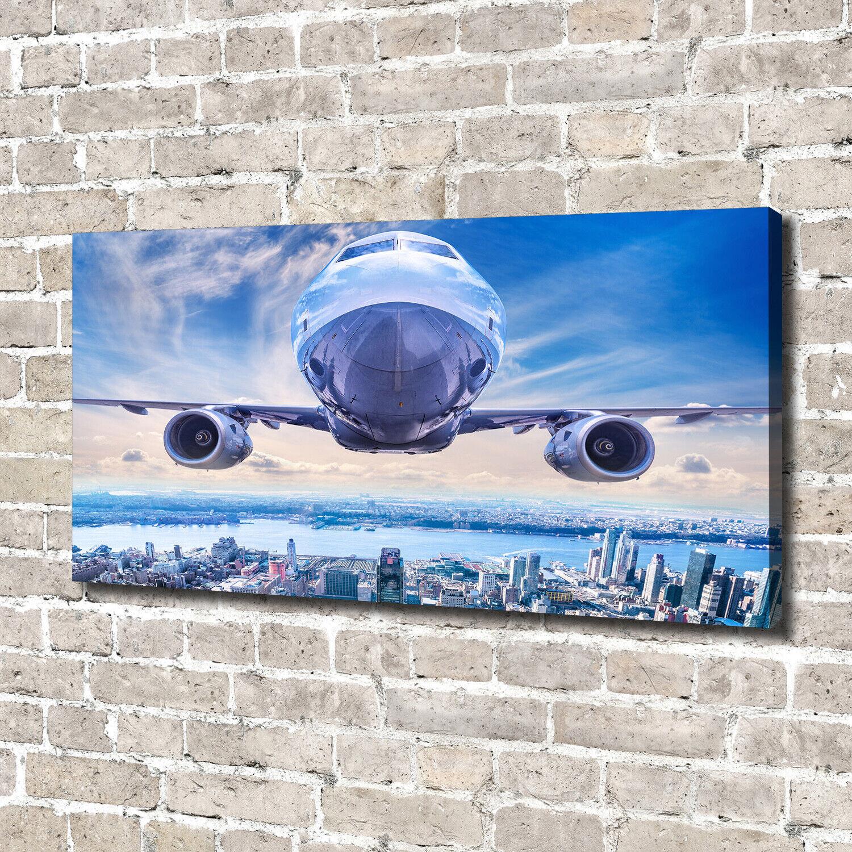 Leinwandbild Kunst-Druck 140x70 Bilder Fahrzeuge Flugzeug über Stadt