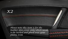 ORANGE STITCHING 2X DOOR CARD LEATHER SKIN COVERS FITS AUDI TT MK2 2006-2014