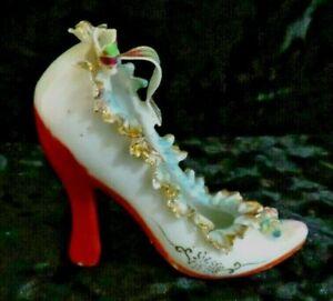 Vintage-Handpainted-Porcelain-High-Heel-Shoe-Made-In-Japan-Miniature-ladies