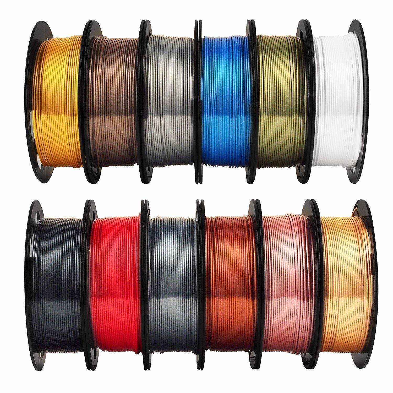 3D Printer Filament 12 In 1 Bundle Pack Shine Silk