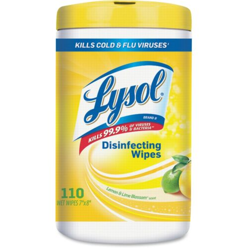 Lysol Sanitizing Wipes 110 Wipes//Tub 6//CT Lemon//Lime Blossom 78849CT