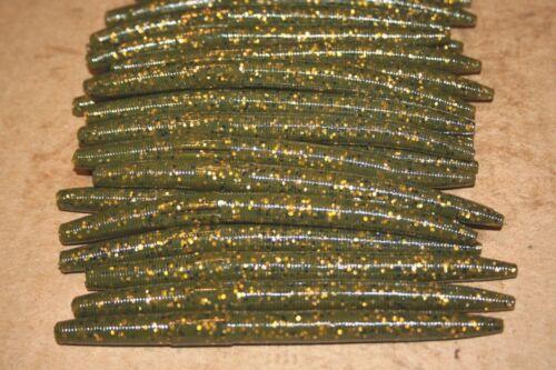 """5/"""" Stick Senko Style Green Pumpkin Copper Fleck 100 count bag bulk Bass Worms"""