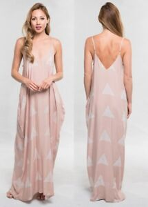 134a519c92 LOVE STITCH Nude Block Hand Printed Cocoon Maxi Dress w  Pockets ...