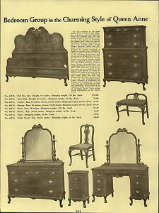 1937 Paper Ad Queen Anne Bedroom Furniture Early American Suite