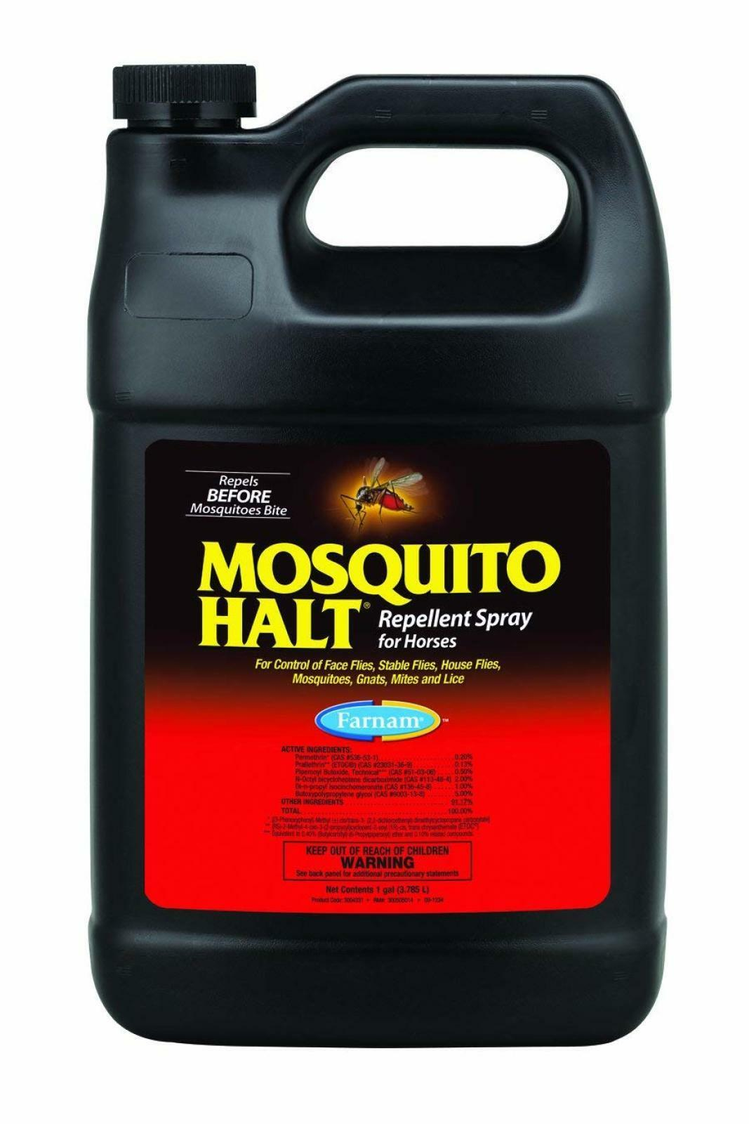 Farnam Mosquito Halt Spray for Horses 1 Gallon Controls mosquitoes ponie foals