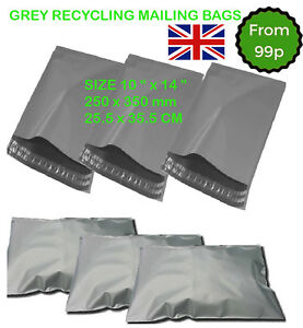 """10"""" x 14"""" STRONG POLY MAILING POSTAGE POSTAL QUALITY SELF SEAL GREY MAILING BAGS"""