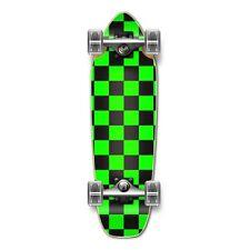Checker Neon Green Complete Longboard Mini Cruiser Skat