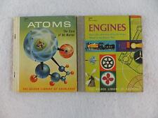 Lot of 2 GOLDEN LIBRARY OF KNOWLEDGE Atoms & Engines c. 1959 Golden Press