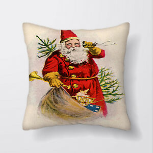 """18/"""" UK Santa Christmas Snowman Cushion Cover Pillow Case Cotton Sofa Home Decor"""