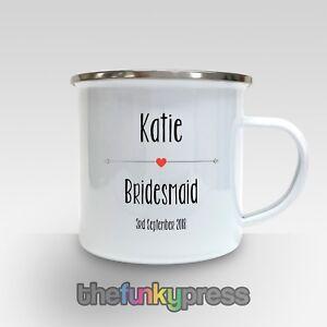Personalisierte Brautjungfer Emaille Becher Tasse Tee Kaffee